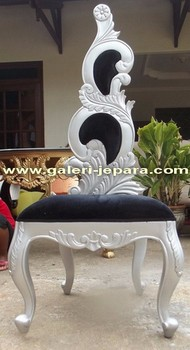 Silver Antique Furniture with Upholstrery- Hand Carved Wooden Furniture Jepara