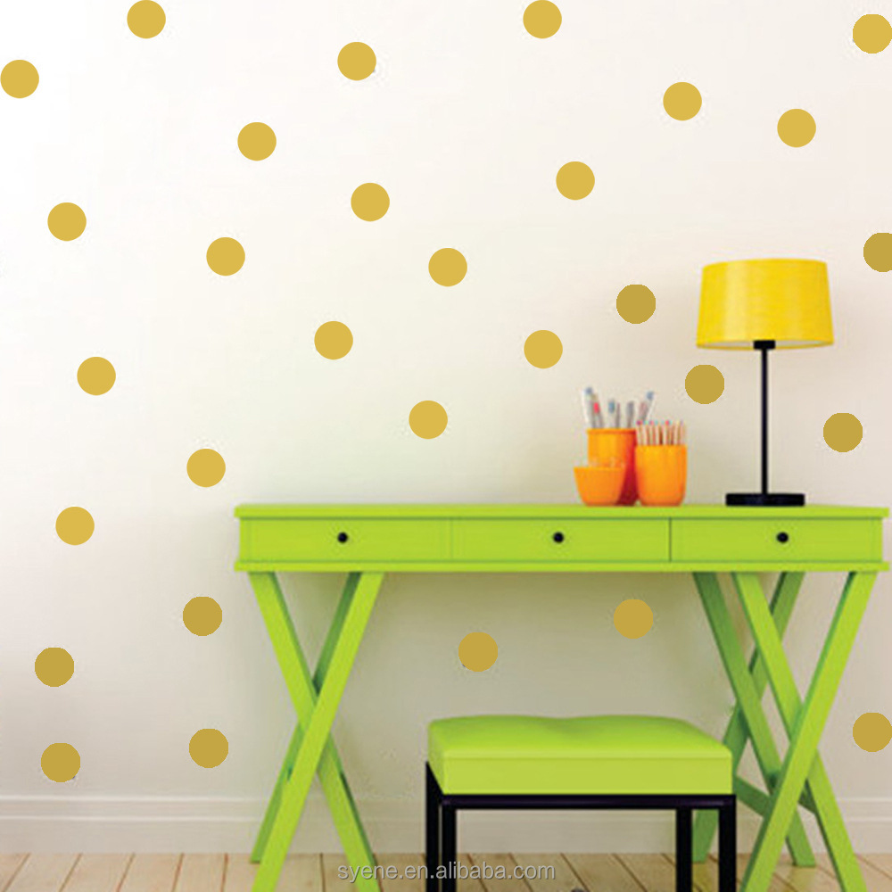 wholesale kids room diy decoration mordern waterproof self-adhesive wallpaper gold polka dot design removable wall sticker decal