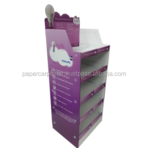 5 tier cardboard floor display for lamp bulb