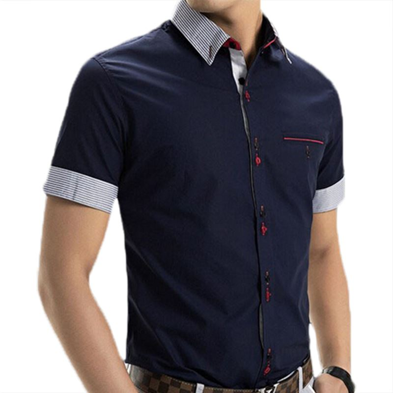MOON BUNNY 2016 Spring Brand Mens Short Sleeve Dress Shirts Men Fashion Patchwork Casual camisa slim fit Men's Social Shirts 6 C