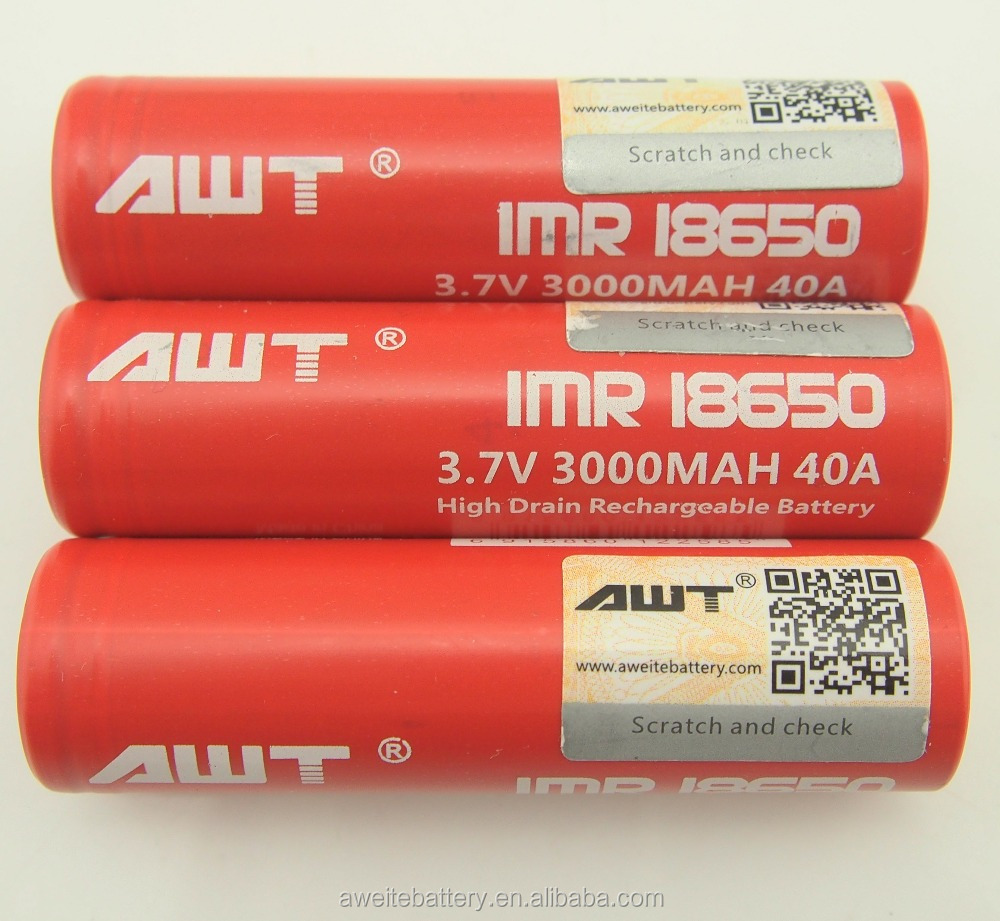 Best Selling AWT 18650 35A 3000mAh 3.7V 18650 40A sealed lead acid 4v 4ah battery Rechargeable Battery for Vaping