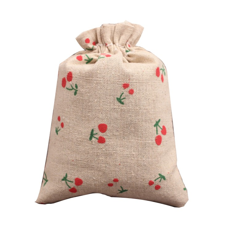 Cherry Linen Drawstring Storage Bag Canvas Sachets Jewelry Packaging Calico Pouch