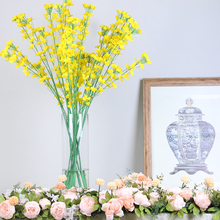 High quality silk yellow artificial flowers simulation rape flower for home wedding decoration