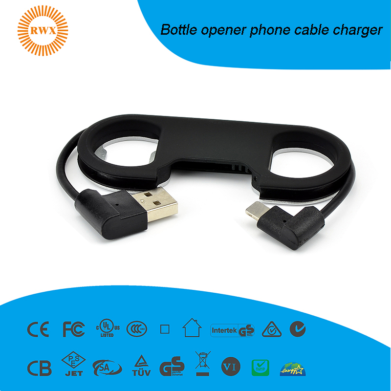keychain phone cable with Bottle opener function mirco usb ,type-c and 8 pin