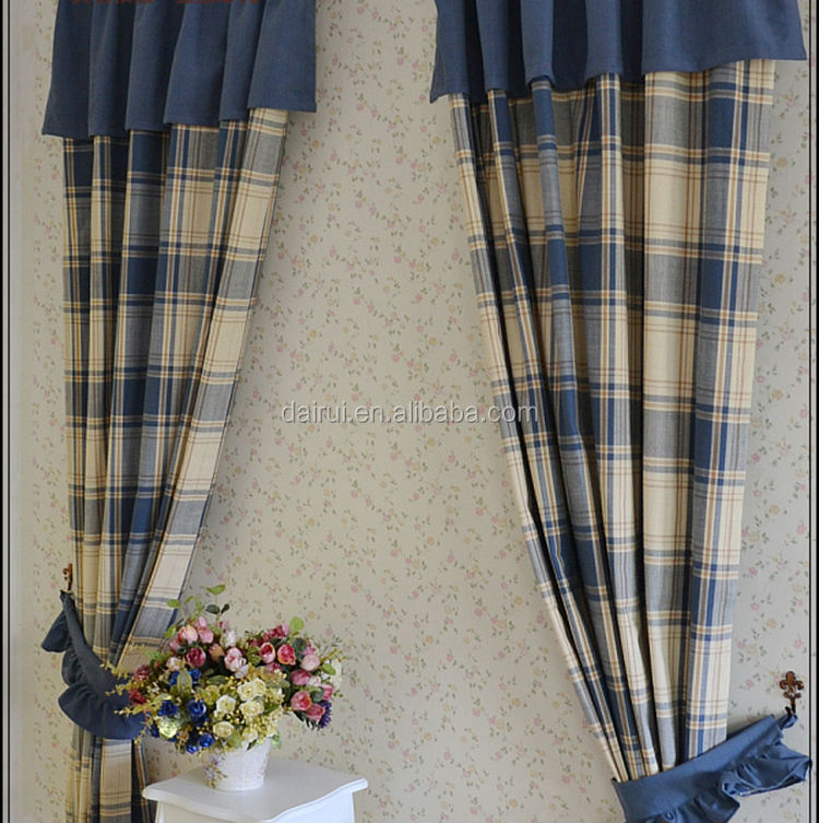 Vintage plaid yarn dyed linen mixed curtain valance for home decor drapery