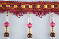 crystal red beaded lace trim,polyester curtains beads fringe