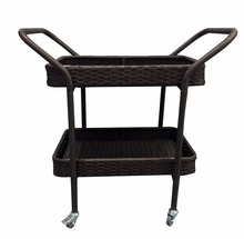 Outdoor Patio Resin Wicker Rattan Rolling Serving Bar Cart for Party,Picnic,Garden