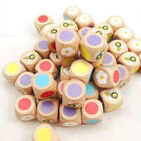 25mm beech wood dice wooden colored dice with flower and bee pattern