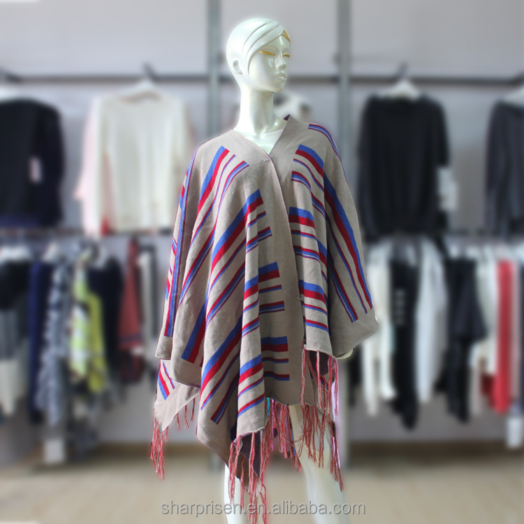 Wholesale French Style Winter Warm Knitwear Ladies Red And Blue Striped Shawl Poncho Womens Fashion Fringed Loose Wraps In Stock