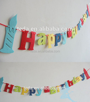 felt Birthday party supplies bunting decoration party felt flag decoration items