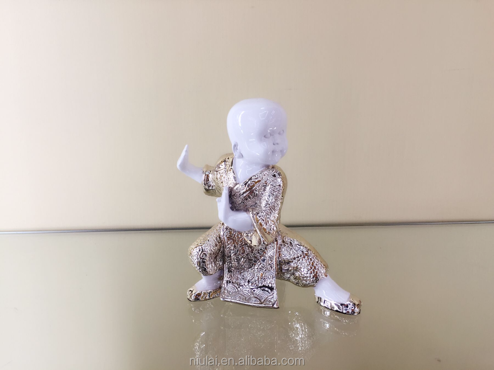 shaolin kung fu monk figures with resin material for home decor