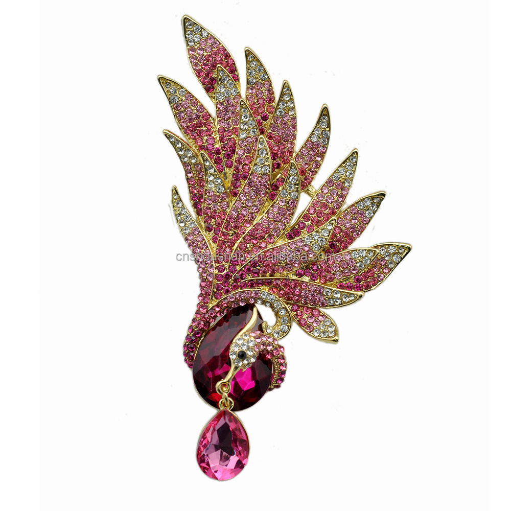 US Large Size Brooch Fuchsia Phoenix Brooch Pin Dangle Teardrop Crystal Bird Animal Fashion Jewelry