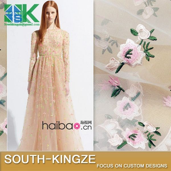 2016 Fashion Lace Fabric 4color Organza embroidered 3D embroidery pink floral dress dress 150cm 2016 Fashion401