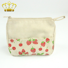 Wholesale Strawberry Printed Beige Fabric Coin Purse