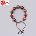 Handmade religious decorative christian 10mm wood bead holy cord wooden bracelet