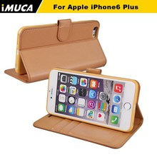 2015 IMUCA 2015 new Folksy soft 5.5 inch wallet plain leather phone case for iPhone 6 plus