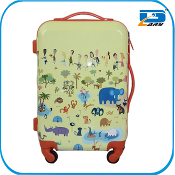 Popular design for travelling abs+pc printed travel luggage, travel luggage set