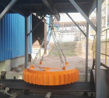 Suspended electromagnet for conveyor belt