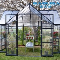 Galvanized Pipe Frame And Glass Covered Garden Greenhouse For Flowers