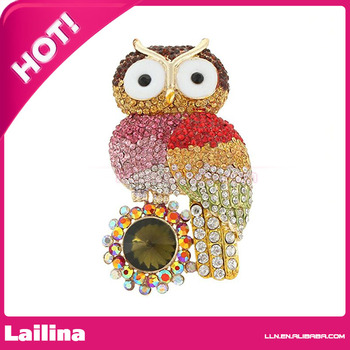 Fashion Mulitcolor Rhinestone Owl Sunflower Brooch