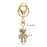 Wholesale Rhinestone bear Keychain Keyring Fashion bag charm Key Chains Ring Holder Souvenir women girl handbag Jewelry