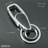 Hot Selling High Quality Zinc Alloy Metal Car Key Chain With Black Leather