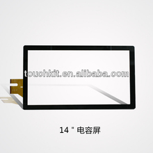 14 Inch Projected Capacitive Touch Screen With Black Frame Multi Touch Panel With USB Controller