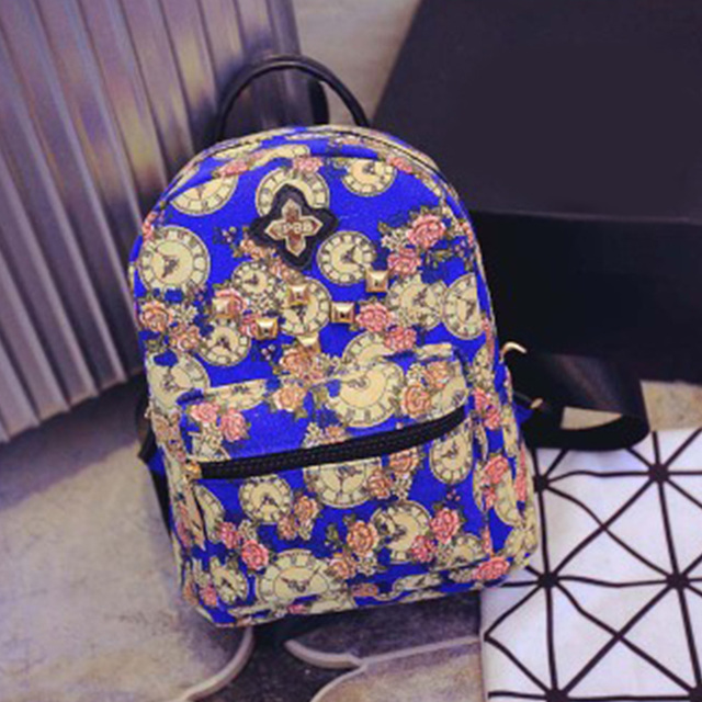 2016 Fashion Vintage Retro Rose Floral Printing Backpack Women's Canvas Travel Backpack for Teenage Girls Rucksack  Promotion