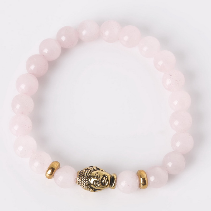 8mm Fancy Natural Stone Rose Quartz Beads Antique Gold Buddha Head Bracelets Bangles 19cm Long For Women And Men Fashion Jewelry