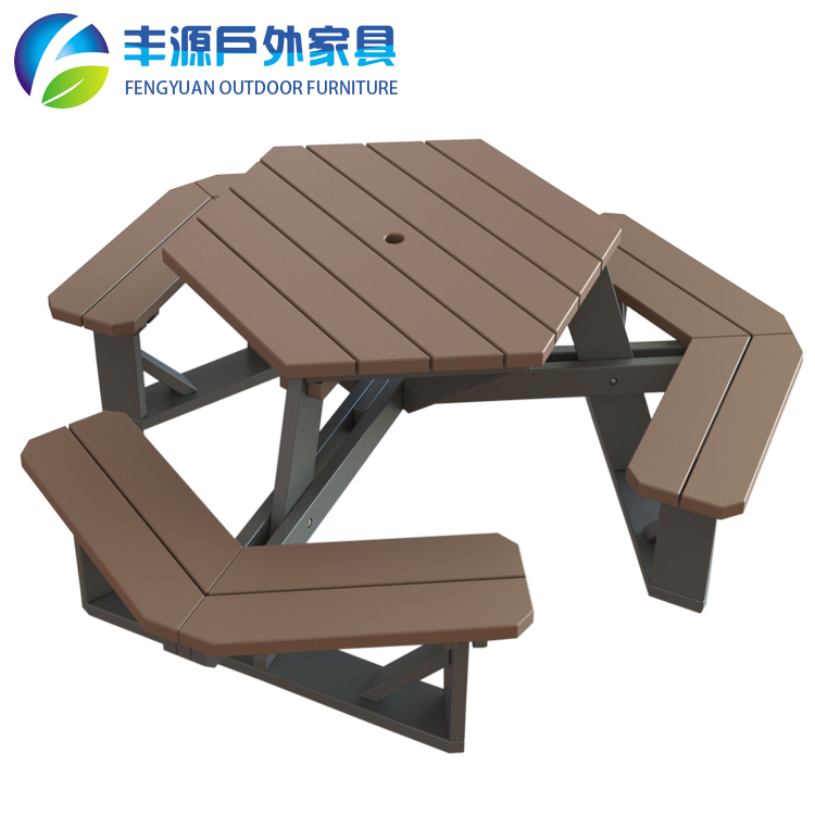Full Recycled HDPE Plastic Dining Picnic Outdoor Table Chair Umbrella