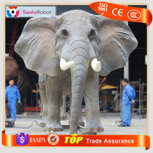 Life Sized Animated Large Fiberglass Animal Handwork Fake Elephant Model in Zoo