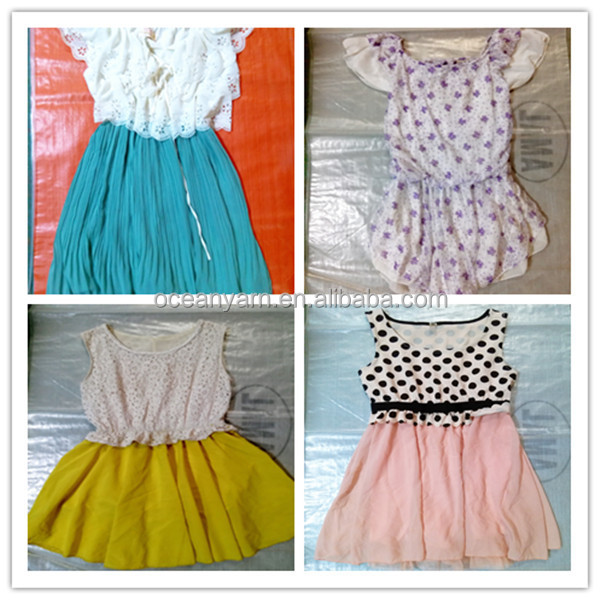 2016 high quality jean skirt and second hand clothing cream wholesale uk used clothing