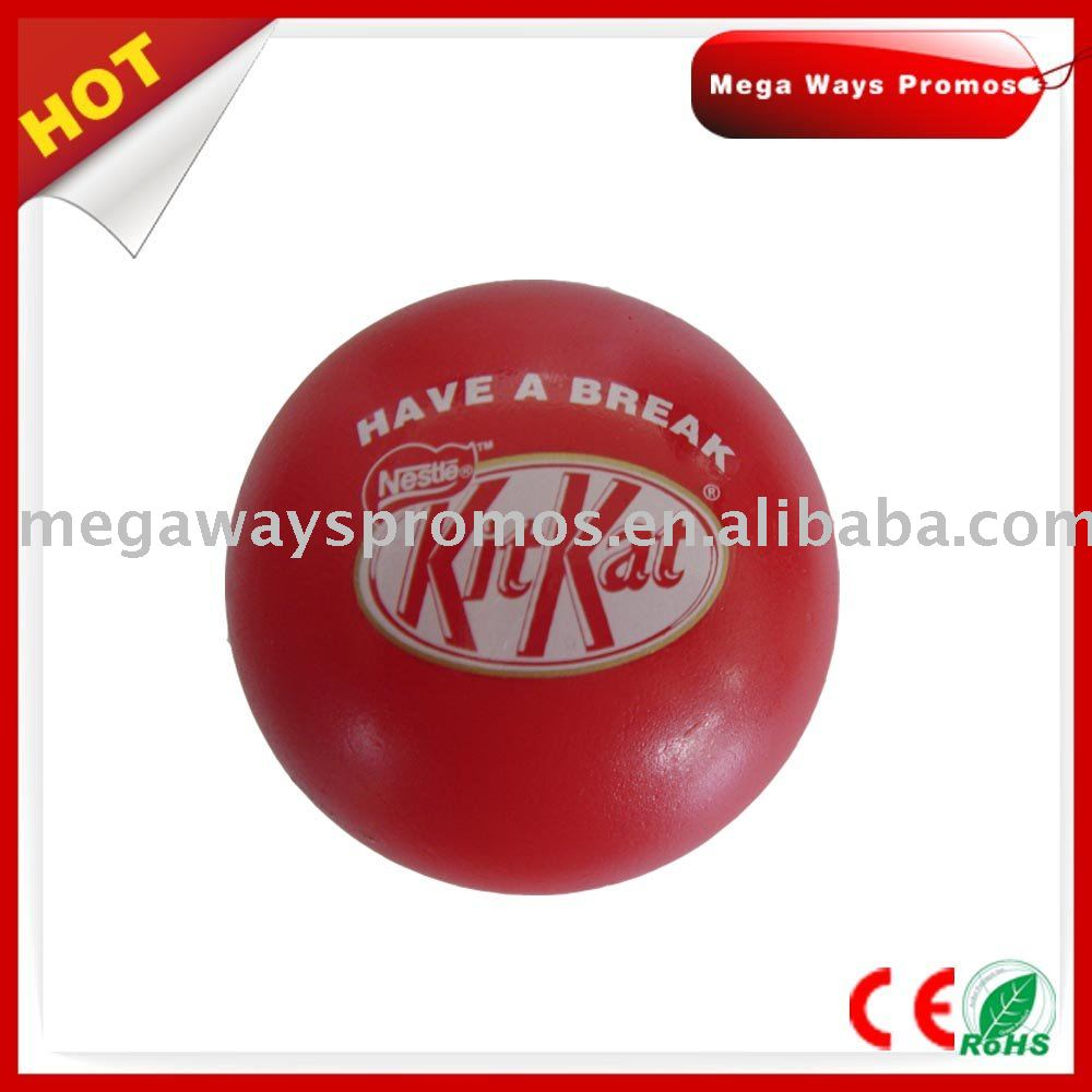round shape red color PU squeeze ball toy for promotion