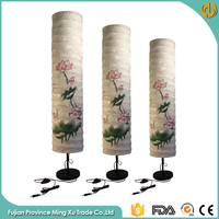 Chinese style Ink Lutos Fabric Floor Standing Lava Lamp