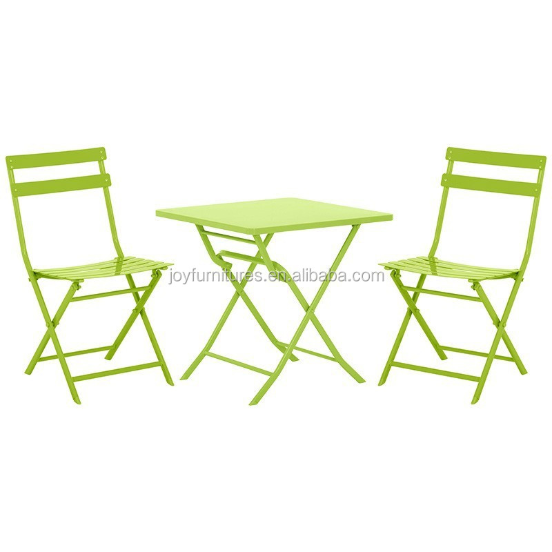 Folding table and chair indoor outdoor cheap steel bistro for Outside garden table and chairs