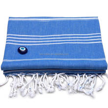 Hot selling royal blue white striped turkish pestemal beach towel Cotton fabric with tassels mandala beach towel