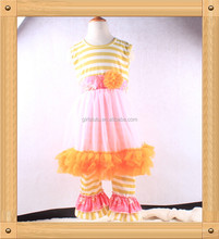 Top Quality Chiffon Dress Top Matching Stripe Leggings China Cheap Kids Garments With Cute Ruffles
