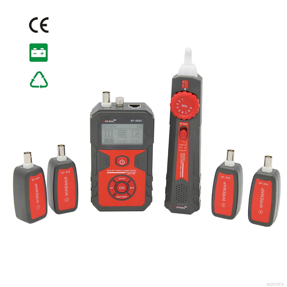 New Sale Anti-EI RJ45 RJ11 Coaix cable length tester NF-858C with 4 ID remotes
