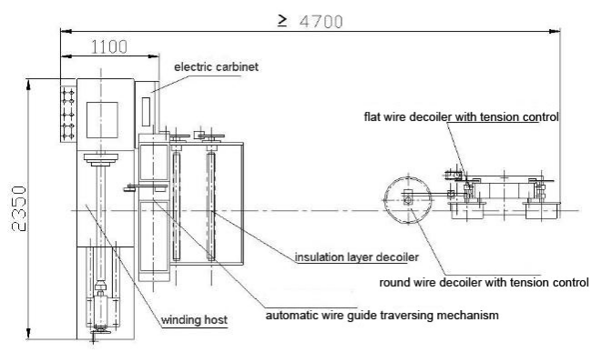 Insulated flat aluminum wire coil winding machine