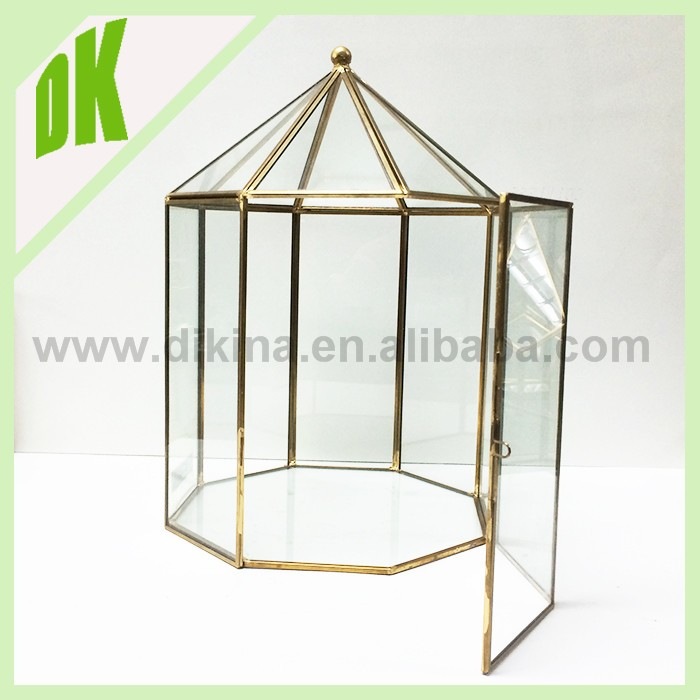 jewelry,flower,candy,card holer- Fall tall Gold glass and brass bird cages shape vase for table decorations centerpieces wedding