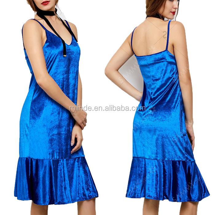 Cami Flounced Straight Spaghetti Strap Fashion Sexy Trendy Bulk Velvet Casual Blue Combination Formal Dresses Women