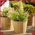 S&D New products outdoor rattan wicker round patio garden planter pot rattan large size plastic flower pot
