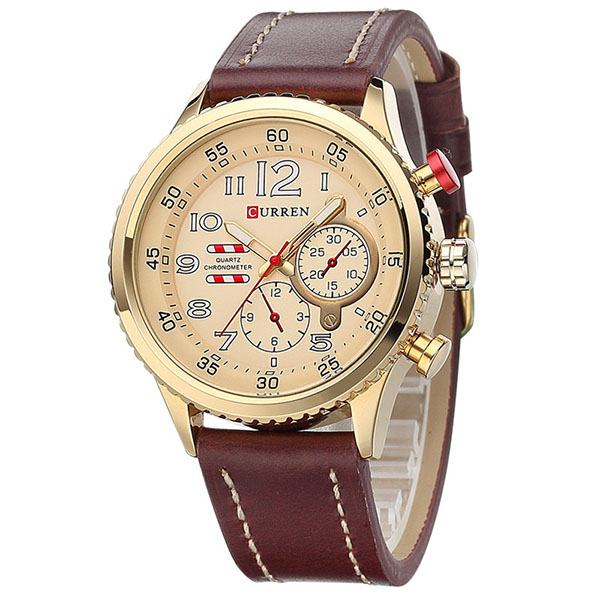 CURREN 8179 2018 Cheap Leather Strap Gold Quartz Business Watch Sport Watches