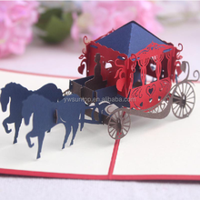 2016 handmade European carriage 3d cards for christmas