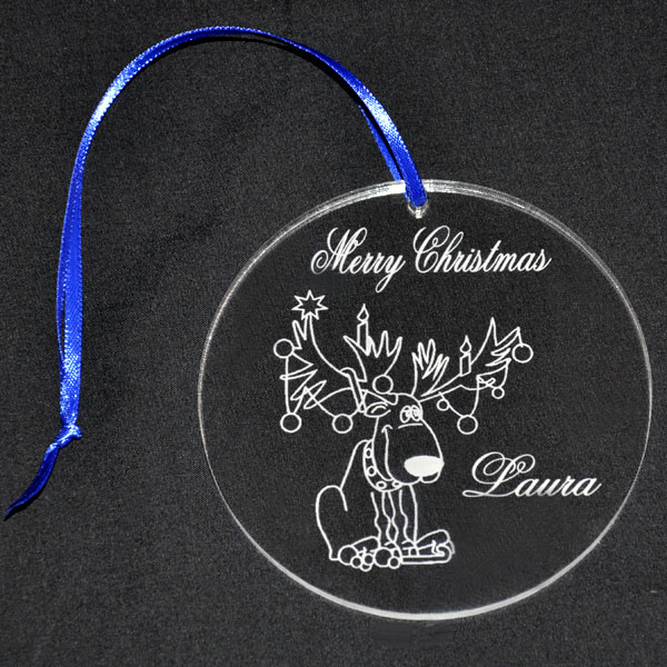 Custom Round Clear Acrylic Engraved Ornament Hanging Gift Pendant