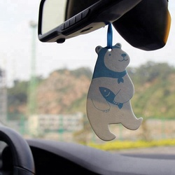 Factory direct sale absorbent hanging best perfume no smoking funny panda paper car air freshener with back card
