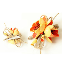 Antique colorful foam flowers clips with hemp, cute artificial flower hair clips for kids, lovely style wedding hair clips