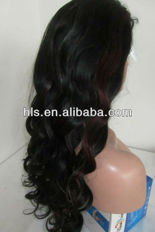 "human hair full lace wig highlights color 26"" #1/red and #60"