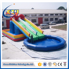 summer water games floating inflatable boat deep swimming pool with slide