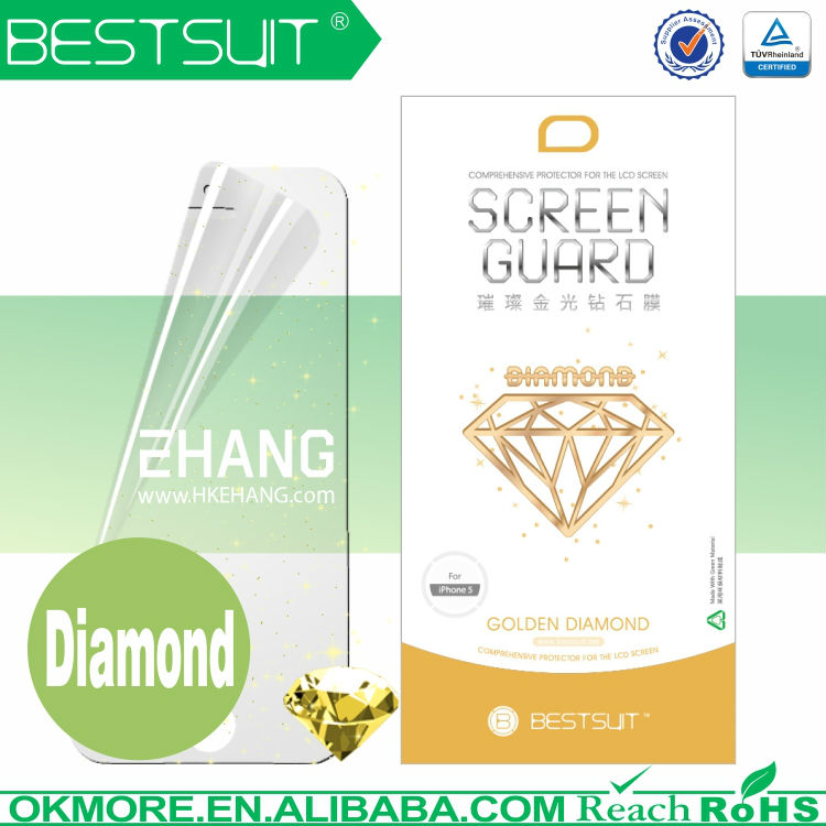 Bestsuit Brand bright golden diamond protective film for iphone4 diamond screen protector